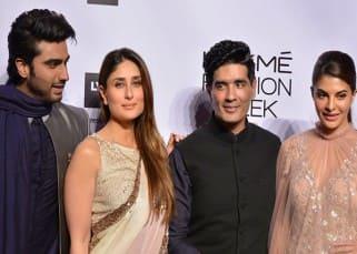 Arjun Kapoor, Kareena Kapoor, Manish Malhotra and Jacqueline during Lakme Fashion week