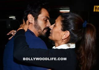 Aww! Arjun Rampal KISSES wife Mehr Jessia openly at Mumbai airport