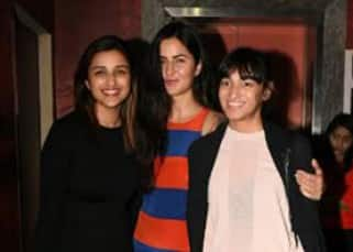 Bollywood hotties Katrina Kaif and Parineeti Chopra go on a movie date