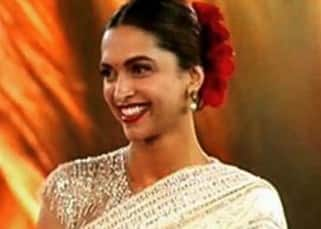 Deepika Padukone in off-white saree by Abu Jani & Sandeep Khosla