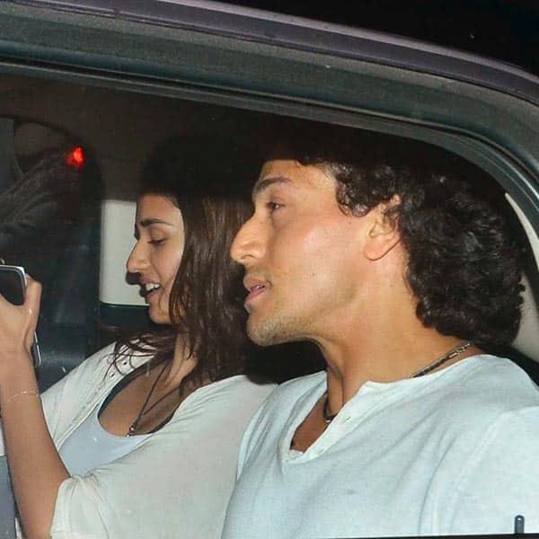 Disha Patani and Tiger Shroff clicked inside car