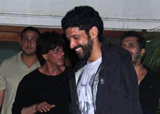 Farhan Akhtar snapped with Shah Rukh Khan outside Excel office