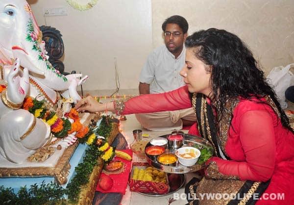 Ganesh Chaturthi 2014: Sambhavna Seth welcomes Ganpati Bappa home - view pics!