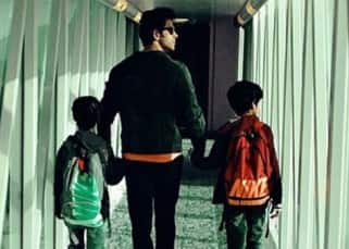 Hrithik Roshan with Hreehan and Hridhan at airbus