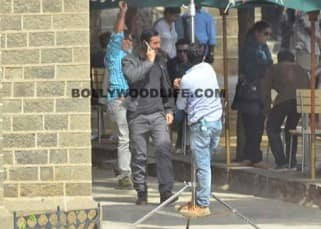 John Abraham shooting a phone sequence on sets of Force 2