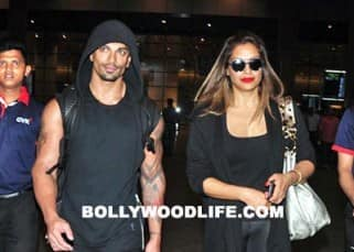 Karan Singh Grover with wife Bipasha Basu at Mumbai airport