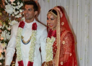 Karan Singh with his bride Bipasha Basu on his wedding day
