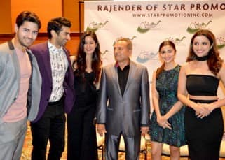 Katrina Kaif and Aditya Roy Kapur posing with Dream Team again after press conference in Houston