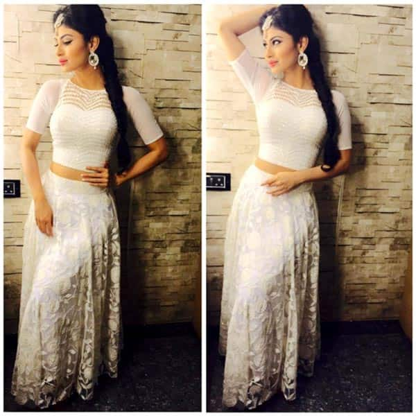 Mouni Roy looks smoking hot in this white outfit