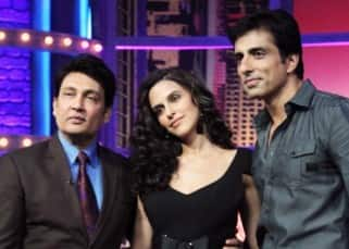 Neha Dhupia and Sonu Sood with Shekhar Suman on the sets of 'Movers and Shakers'