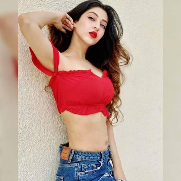 Sonarika Bhadoria raises temperatures in red outfits- newsdezire