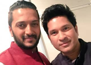 Riteish Deshmukh clicked with Sachin Tendulkar at the launch of his collection 'True Blue'