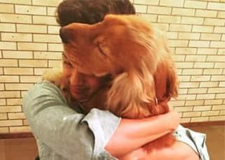 Riteish Deshmukh hugs his pet dog Flash