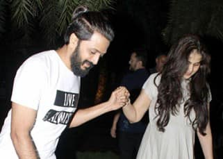 Riteish Deshmukh with wife Genelia D'souza in Mumbai