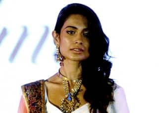 Sarah Jane Dias clicked as she walks the ramp as a showstopper at IIJS Show