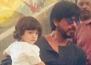 Shah Rukh Khan with son AbRam on sets of 'Raees'