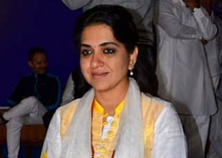 Shaina NC during Baba Ramdev's yoga session