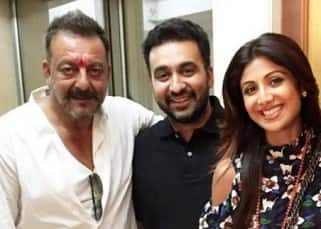 Shilpa Shetty poses with Sanjay Dutt and husband Raj Kundra at his residence