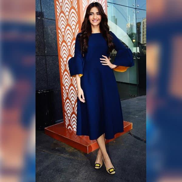 Sonam Kapoor rocks the basic look in the blue flared dress