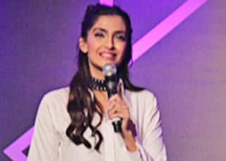 Sonam Kapoor snapped while interacting with media at Cuddles Foundation Charity event
