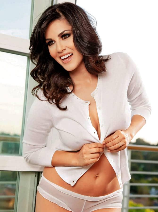 Sunny Leone nude white shirt