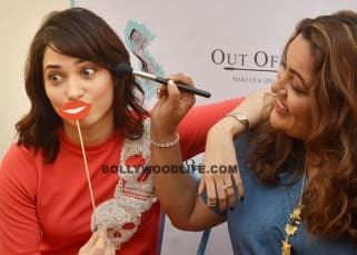 Tamannaah Bhatia having fun at the launch of Out of the Box Make Up Academy