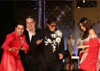 Varun Dhawan and Alia Bhatt shake a leg with Amitabh Bachchan at a recent fashion show