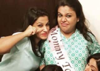 Zareen Khan get clicked with friend at the baby shower