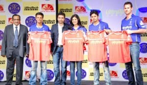 Shilpa Shetty and Raj Kundra launch the new jersey of their IPL team Rajasthan Royals