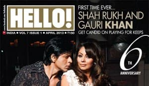 Shahrukh Khan smitten by Gauri Khan on the cover of Hello! magazine