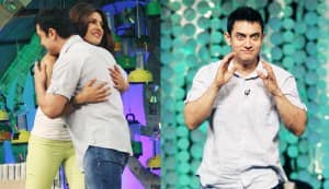 Aamir Khan gets a hug from Priyanka Chopra